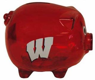 Wisconsin Badgers Ncaa Clear Plastic Piggy Bank