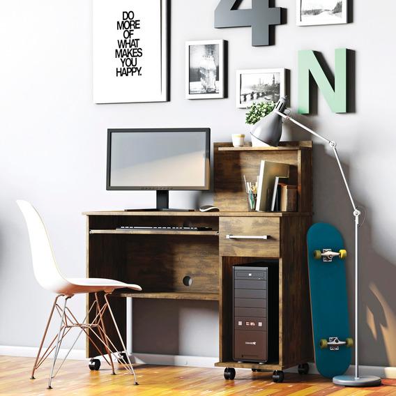 Mesa Escrivaninha Computador Studio Com Gaveta Canela