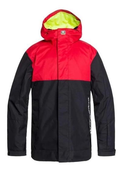 Dc Campera C/capucha Snow Hombre Defy (rqr0) Rojo- Negro Fkr