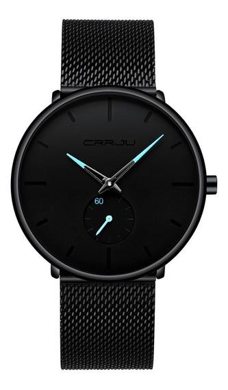 Relógio Crrju Original Luxo Preto/verm/azul- Frete Gratis