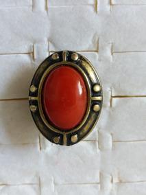 Promoção Biju Anel Tipo Ouro Velho Oval Com Pedra Vermelha