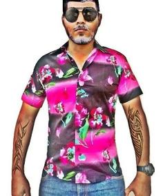 Camisa Masculina Manga Curta Floral Algodão E Elastano
