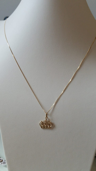 Corrente Gargantilha Em Ouro 18k 750 Com Pingente Coroa