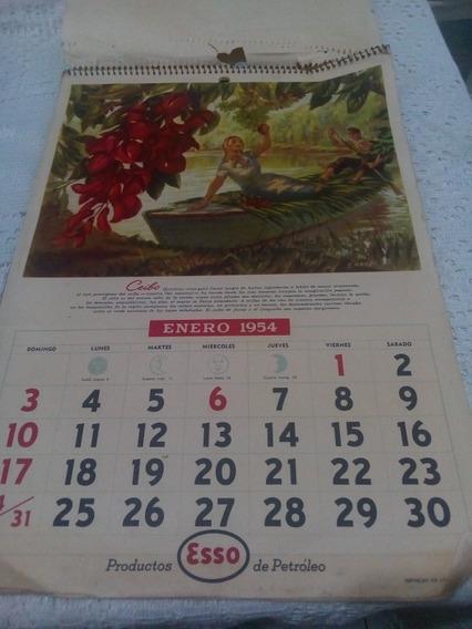 Antigüo Calendario Esso 1954 Completo Doble Faz (original)