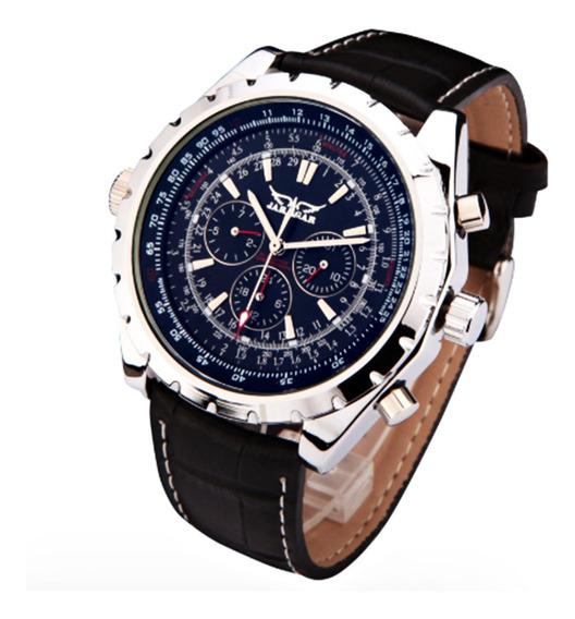 Relógio Jaragar Luxo, Masculino Social Couro, Automático