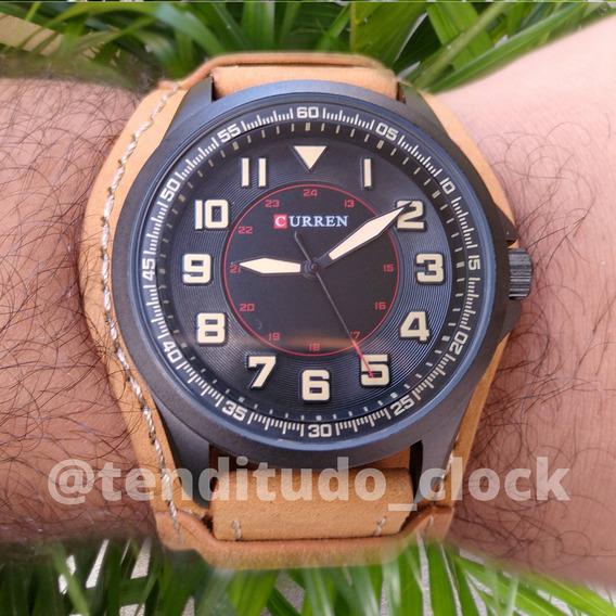 Relógio Original +garantia Com Pulseira De Couro Grossa 8279