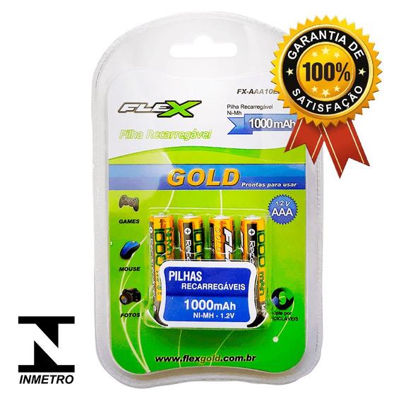 Kit Cartela C/4 Baterias Rec. Palito Tipo Aaa 1000mah Flex