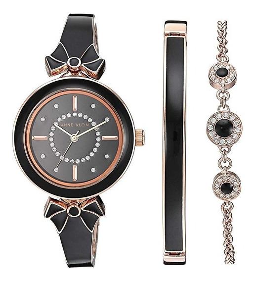 Reloj Anne Klein Set Pulseras Mujer Nuevo Orig Negro Moños