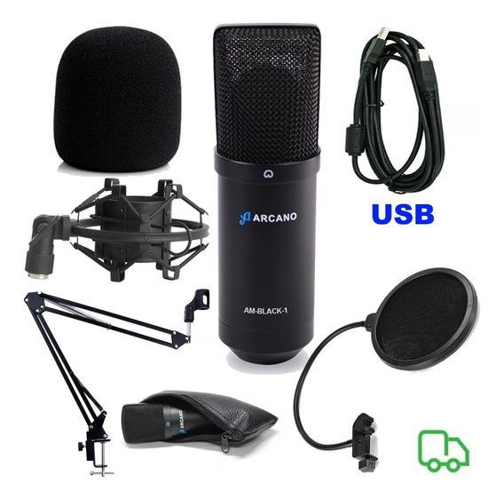 Microfone Arcano Black Braço Popfilter Espuma Aranha