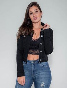 Jaqueta Jeans Confort Revanche Feminina Preta Pronta Entrega