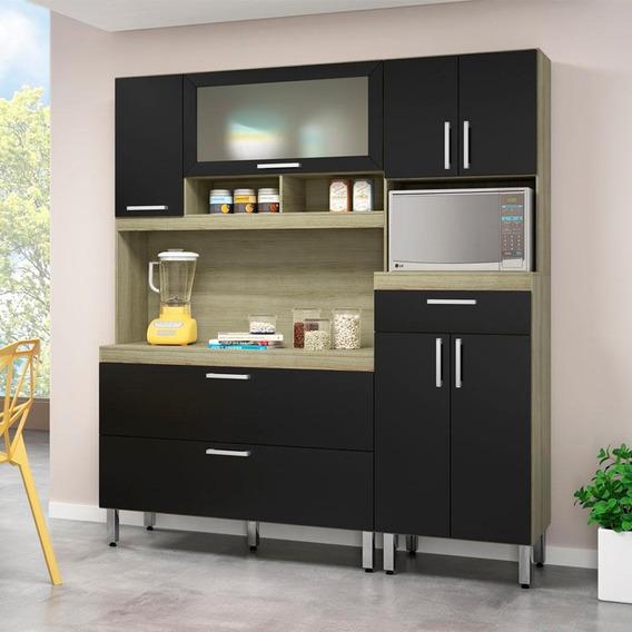 Armário De Cozinha Agnes 8 Portas 1 Gaveta Carvalho/preto
