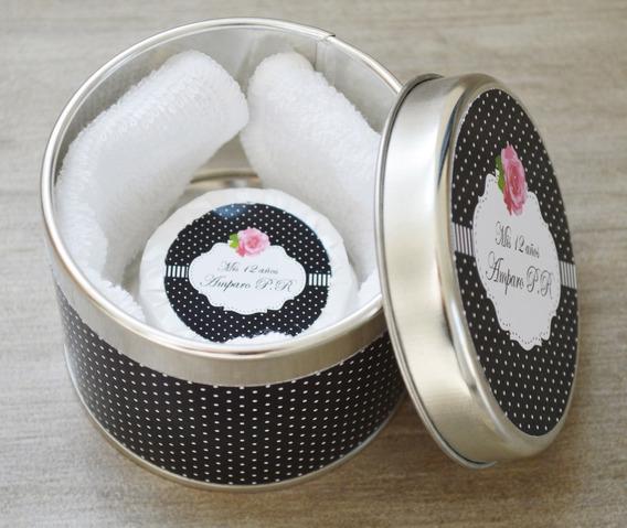 50 Latas Personalizadas+ 1 Jabon+toalla +central Souvenir