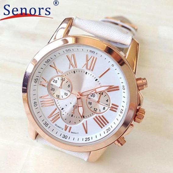 Relógio Marca De Luxo Algarismo Romano Branco