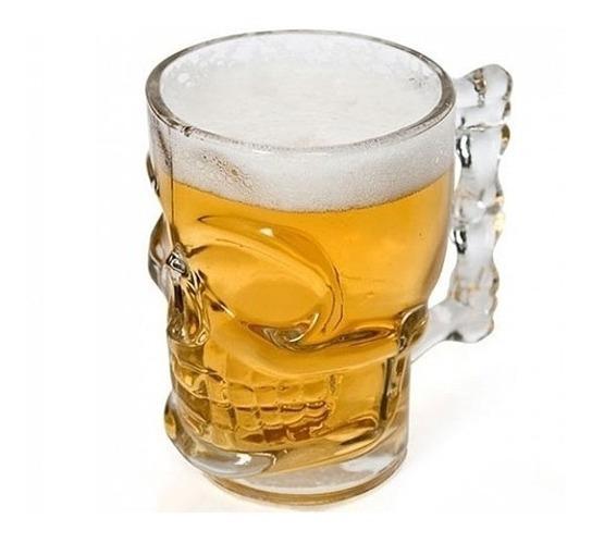 Caneca Chopp E Cerveja De Vidro Caveira Rock Style 510ml