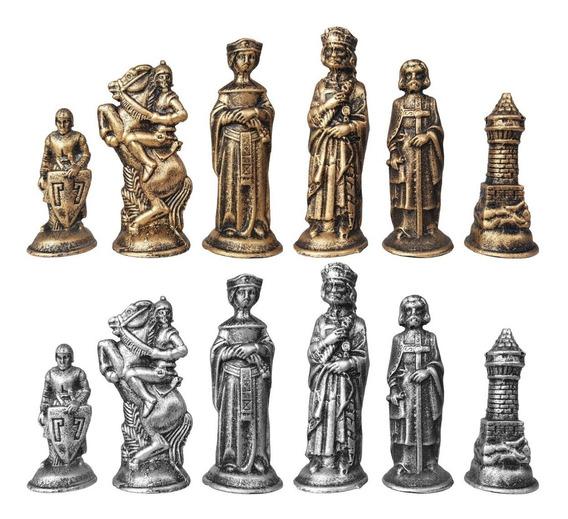 Peças Jogo De Xadrez Tematico Coleção Medieval De Resina