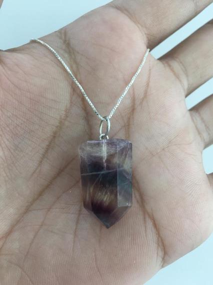 Cordão Colar Pingente Pedra Fluorita Ponta Prata 925