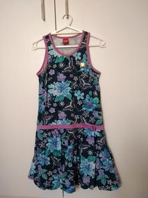Vestido Infantil Feminino Tam 14 Azul Marinho Roupa Floral