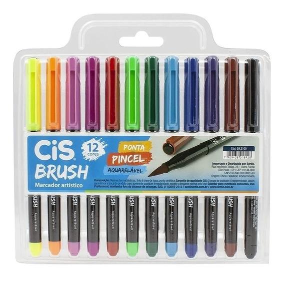 Pen Brush Aquarelável Cis - Estojo C/12 Cores