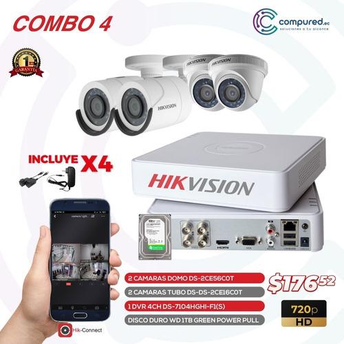 Cámaras De Seguridad Hikvision Combo 4 720p + Dvr + Disco1tb