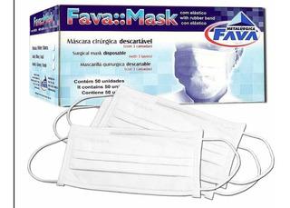 Máscara Descartável Cirúrgica Branca Marca Fava Com Anvisa