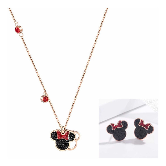 Collar Y Aretes Disney Minnie Mouse Swarovski Elements