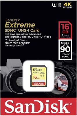 Cartão Sandisk Sdhc Extreme 90mb/s 16gb Classe10 Lacrado