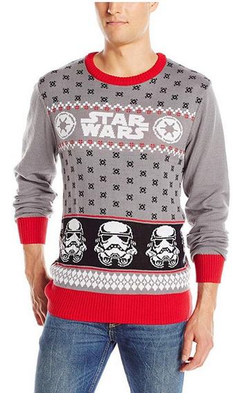 Sweater Navidad Hombre Ugly Sweater Star Wars Gris G