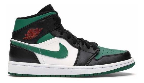 Sneakers Original Jordan 1 Mid Green Toe Pine Green