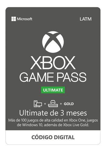 Imagen 1 de 1 de Microsoft  Xbox Game Pass Ultimate 3 Meses (código Digital)
