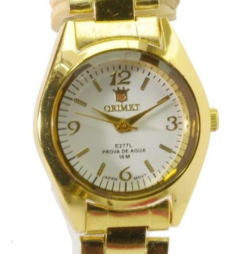 Relógio Feminino De Pulso Dourado Orimet Piqueno Barato.