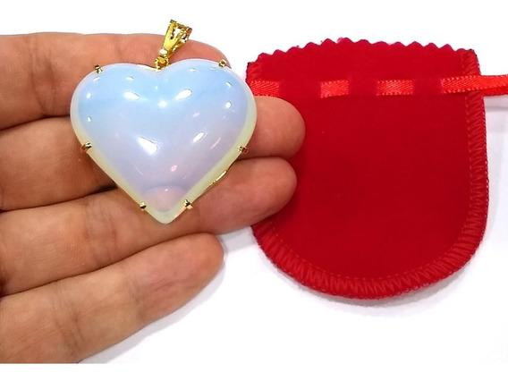 Pingente Pedra Da Lua Opalina Coração 4,5cm Folheado Ouro C5