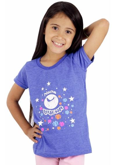 Franela Momo Kids Niña Azul Jaspeado Algodon Detal Mayor