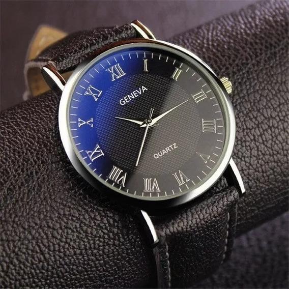 Relógio Quartz Luxo Geneva Importado Pulseira Couro