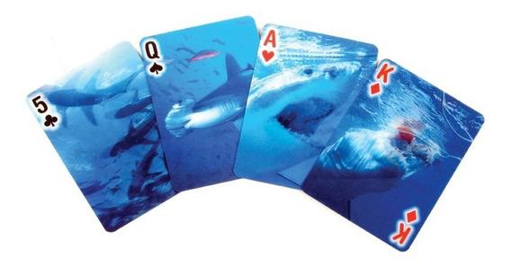 Kikkerland Juegos Paquete Mazo De Cartas Poker Tiburón 3d
