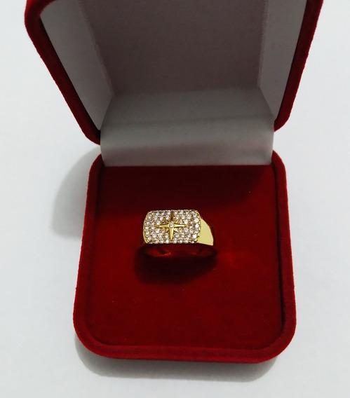 Anel Estrela Rosa Dos Ventos Cravejado Ouro 18k Polido