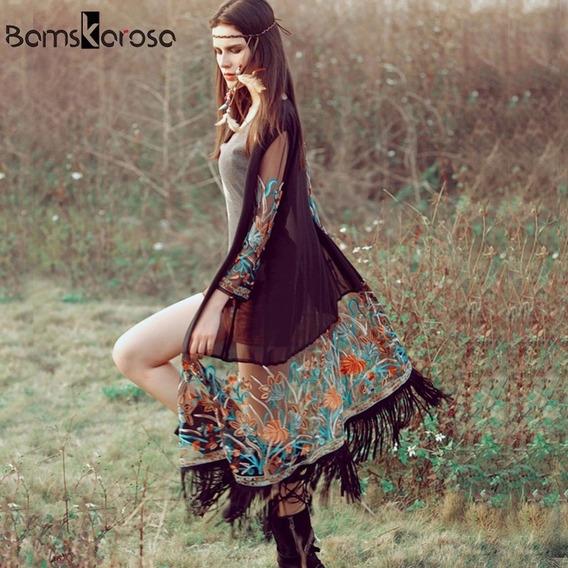 Kimono Cardigan Largo Bohemio Color Negro Con Flecos