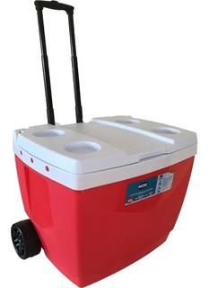Caixa Térmica C/ Rodas 42 Litros Cooler Azul Ou Vermelha Mor