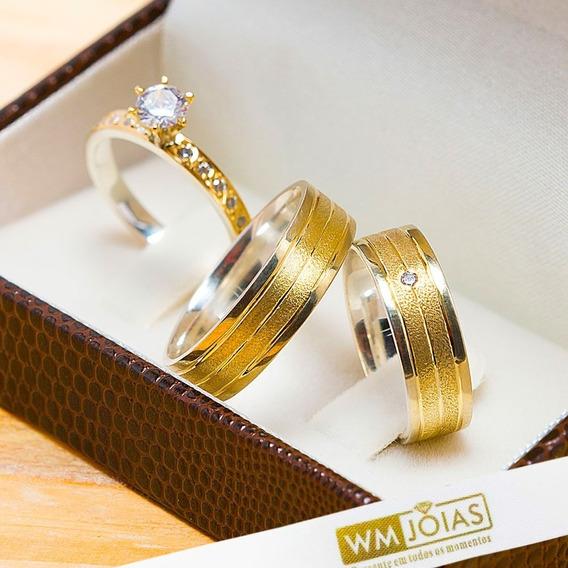 Aliança De Casamento Ouro E Prata + Anel Solitário Wm10204