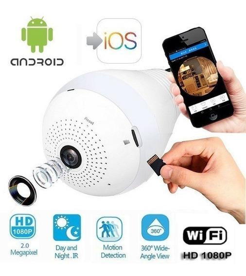 Camara Espia 360° Foco Lampara Led-wifi Con Micrófono/sonido