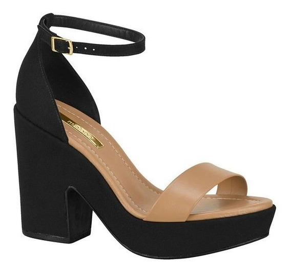 Sandália Salto Quadrado Moleca -preto/caramelo Promoção