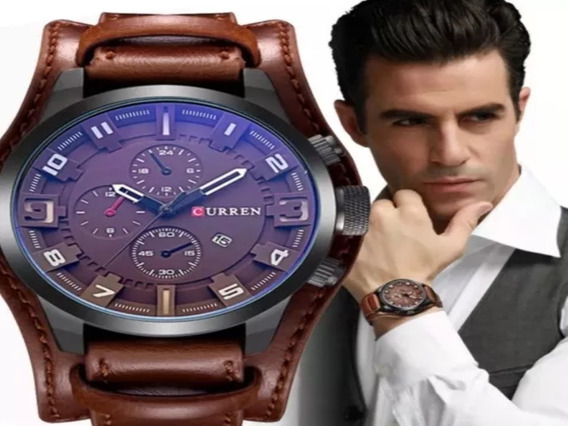 Relógio Masculino Curren Importado Original Couro 8225 Lindo