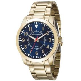 Relógio Mondaine Masculino Aço Dourado Azul 99138gpmvde2
