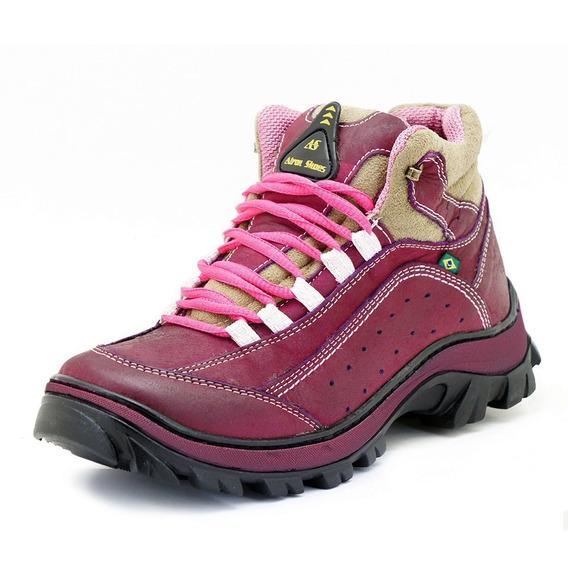 Tênis De Trilha Adventure Feminino Rosa Em Couro Atron Shoe