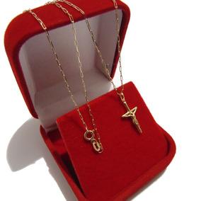 Corrente Masculina Cartier Com Pingente Crucifixo Ouro 18k