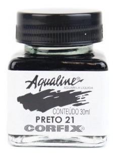 3x Aqualine Aquarela Líquida Aerografia Corfix 30ml - Preto