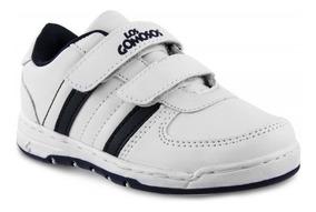 Zapato Los Gomosos Bob Velcro Blanco Azul Para Niños