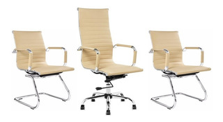 1 Cadeira Escritório 2 Cadeiras Interlocutor Fixa Kit Eames