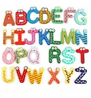 Letras De Madera Pintadas Iman Magneticos 26 Piezas Caja 6cm