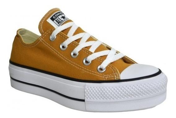 Zapatillas Converse Con Plataforma Amarillo Mostaza