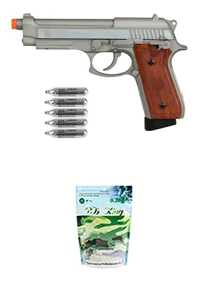 Pistola Airsoft Taurus Pt92 Hairline Silver Gbb + Co2 + Bbs